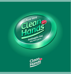Logo clean hands spray sanitizer hands label vector