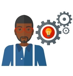 Man with bulb and gears vector image
