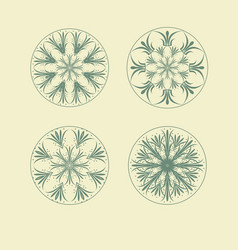 mandala ethnic ornamental set isolated vector image