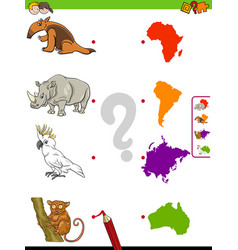 Match animals and continents educational game for vector