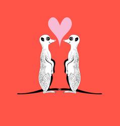 meerkats in love vector image