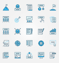 Mission statement blue icons set business vector