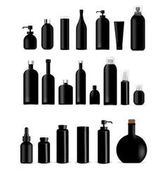 mock up realistic black bottles healthy vector image