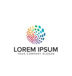 multicolor circular dot logo vector image