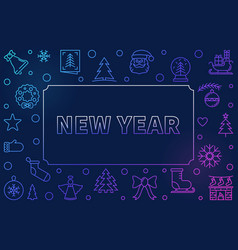 new year modern linear colored horizontal vector image