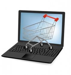 notebook laptop shopping cart vector image