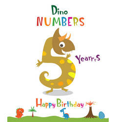 Number 5 in the form of a dinosaur vector