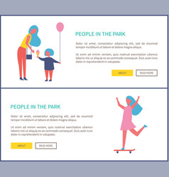people park mother daughter entertain girl riding vector image