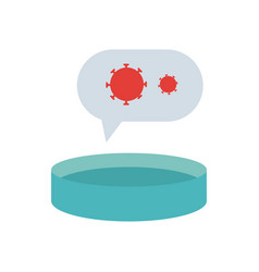 Petri dish and speech bubble with virus icons vector
