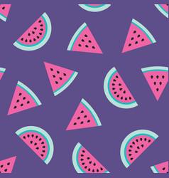 Pink watermelon slices seamless pattern on purple vector