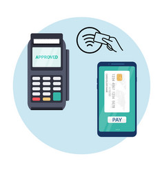 Pos nfc payment machine icon nfc terminal card vector