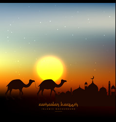 Ramadan kareem background in evening sky with sun vector