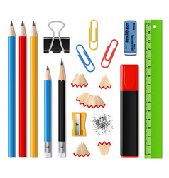 Realistic school supplies and office stationery vector
