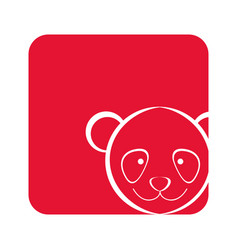 Red square picture of bear animal vector