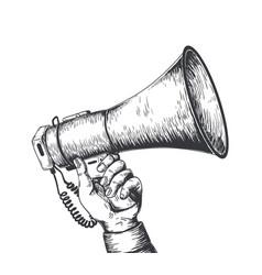 retro hand drawn megaphone realistic sketch vector image