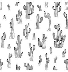 seamless cactus pattern from saguaro cactus vector image