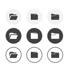 set 3 simple design folder icons rounded vector image