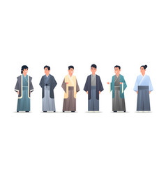 Set asian guys wearing traditional clothes smiling vector