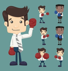 Set businessman fight with boxing gloves charac vector