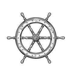 Ship wheel isolated on white background rudder vector
