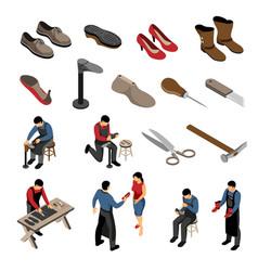 Shoe maker isometric set vector