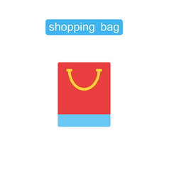 shopping bag flat symbol icon vector image