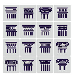 silhouette ancient rome architecture column icons vector image