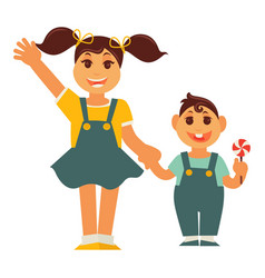 Sister girl and brother boy holding by hands vector