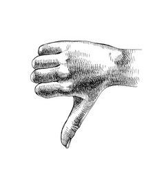 sketched hand shows thumb down vector image