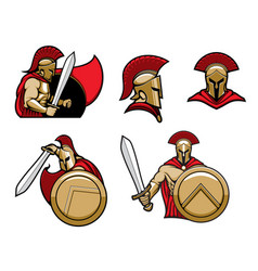 spartan warrior greek sparta soldier in armor vector image