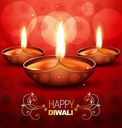 Stylish diwali diya vector
