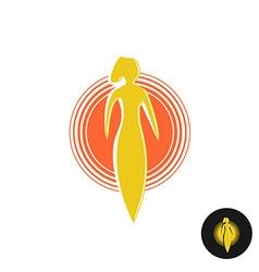 Tanning salon logo Solarium concept Woman figure vector image