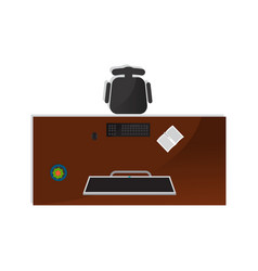 top view home office interior element vector image