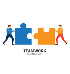 two people connecting puzzle elements vector image
