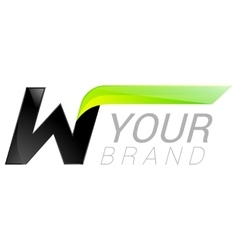 W letter black and green logo design Fast speed vector image
