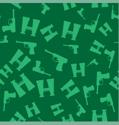 Weapon seamless pattern pistols and binoculars vector