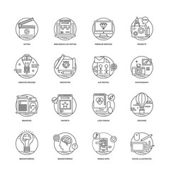 web and mobile app development line icons 2 vector image