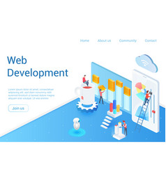 web development isometric landing page vector image