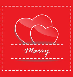 wedding concept of couple paper hearts on red vector image