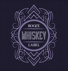 whiskey booze label design template patterned vector image