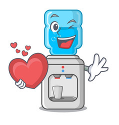 with heart water cooler with plastic bottle vector image