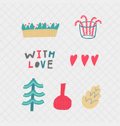 With love christmas tree heart decoration postcard vector