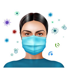 woman in medial mask realistic composition vector image