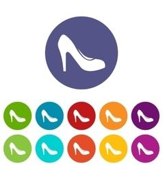 Women shoe with heels set icons vector image