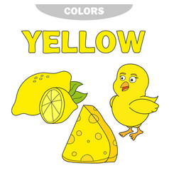 yellow learn the color education set vector image