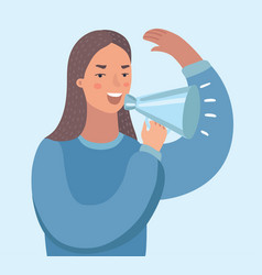 young asian business woman with loudspeaker making vector image