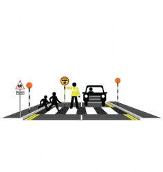 zebra crossing school patrol vector image