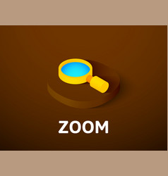 Zoom isometric icon isolated on color background vector