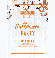 beautiful halloween party flyer with treats vector image vector image