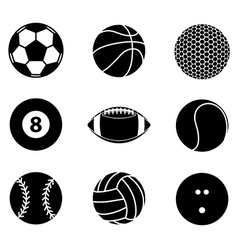 Collection of sport ball icon black and white vector image